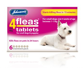 4fleas Tablets For Puppies and Small Dogs Up To 11kg - 6 Pack